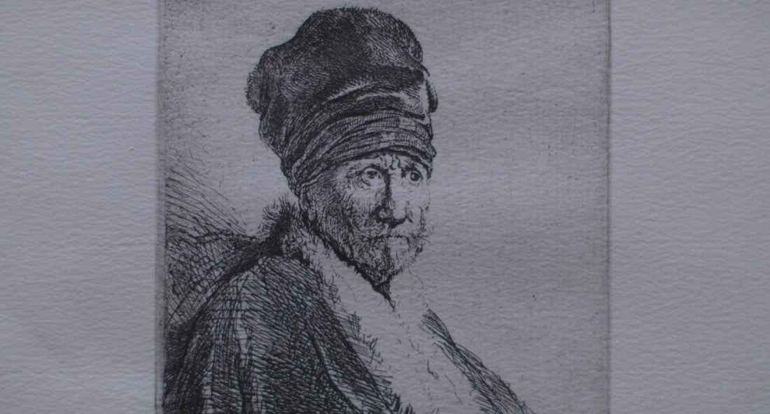 "Detail from Rembrandt's 1630 etching ""Bust of a Man Wearing a High Cap; Three-Quarters"""