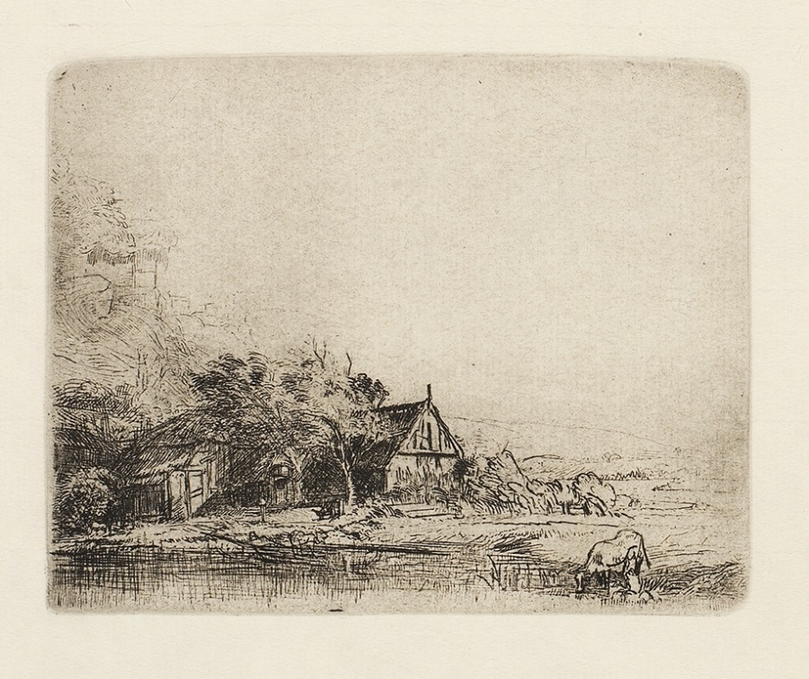 """Landscape with a Cow Drinking"" (ca. 1650), Rembrandt"