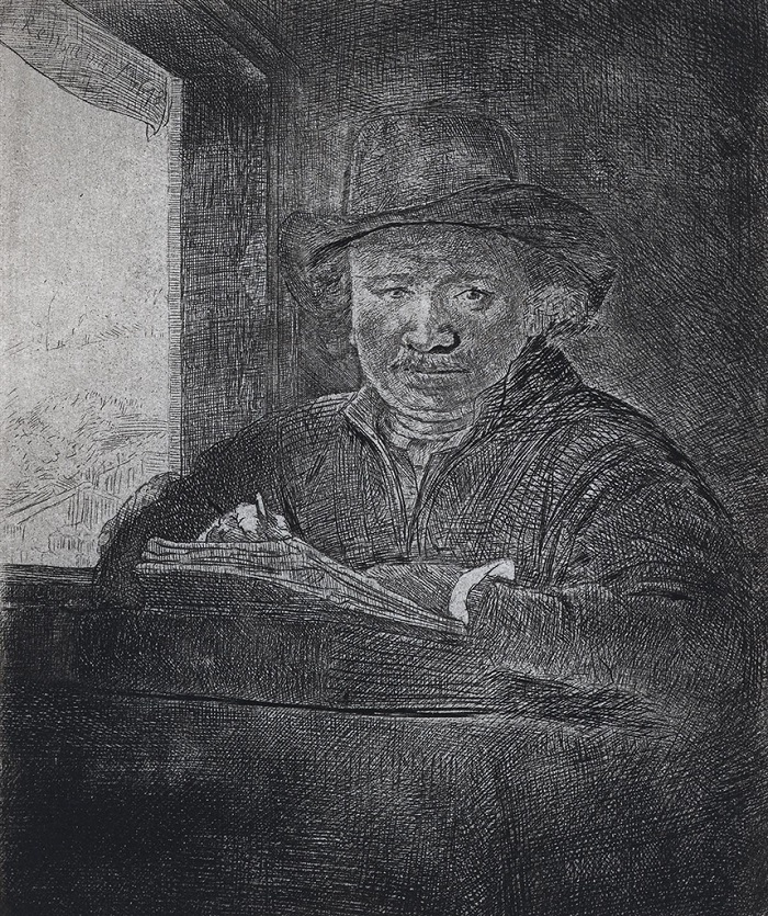"""Self Portrait Drawing at a Window"" (1648), Rembrandt"