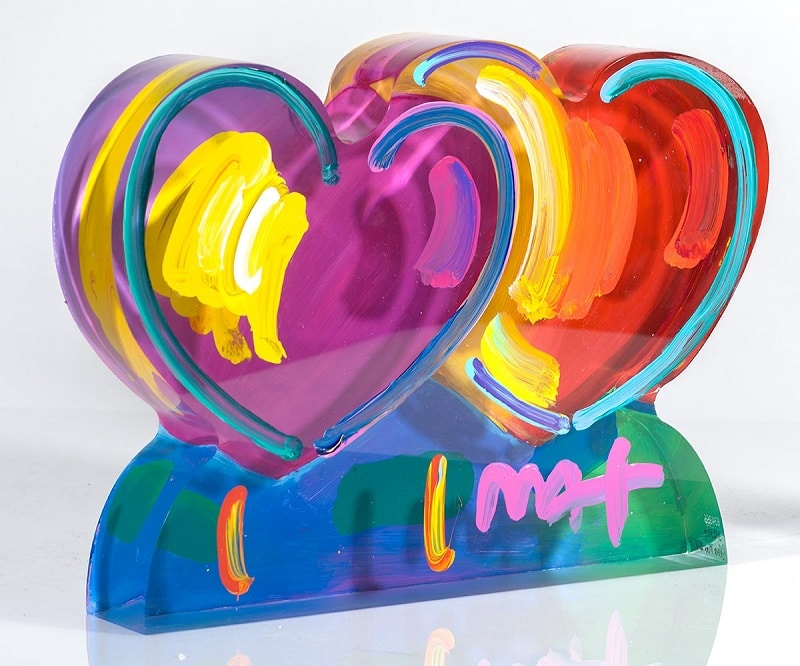 """Two Hearts Ver. III #388,"" Peter Max"