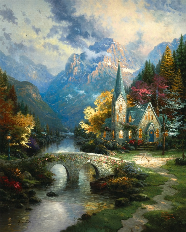 """Mountain Chapel,"" Thomas Kinkade"