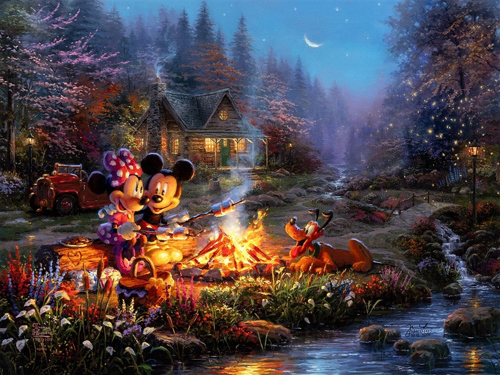"""Mickey & Minnie Sweetheart Campfire,"" Thomas Kinkade"