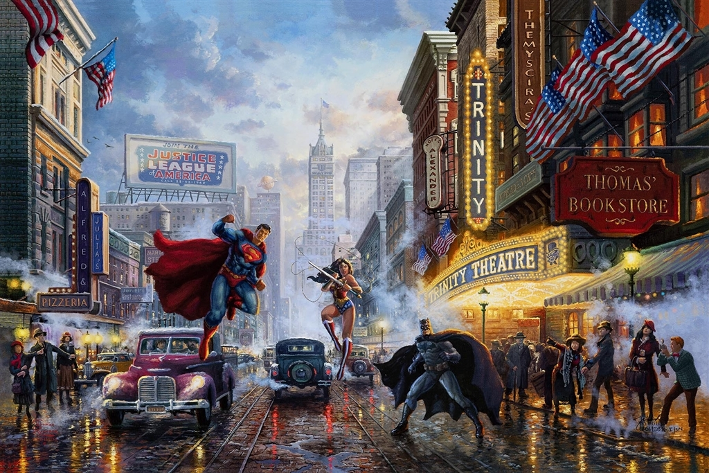 """Batman, Superman and Wonder Woman - The Trinity,"" Thomas Kinkade Studios"