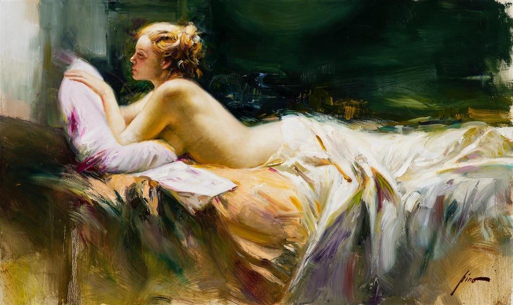 """""""Colorful Repose,"""" Pino, female form, figurative art"""