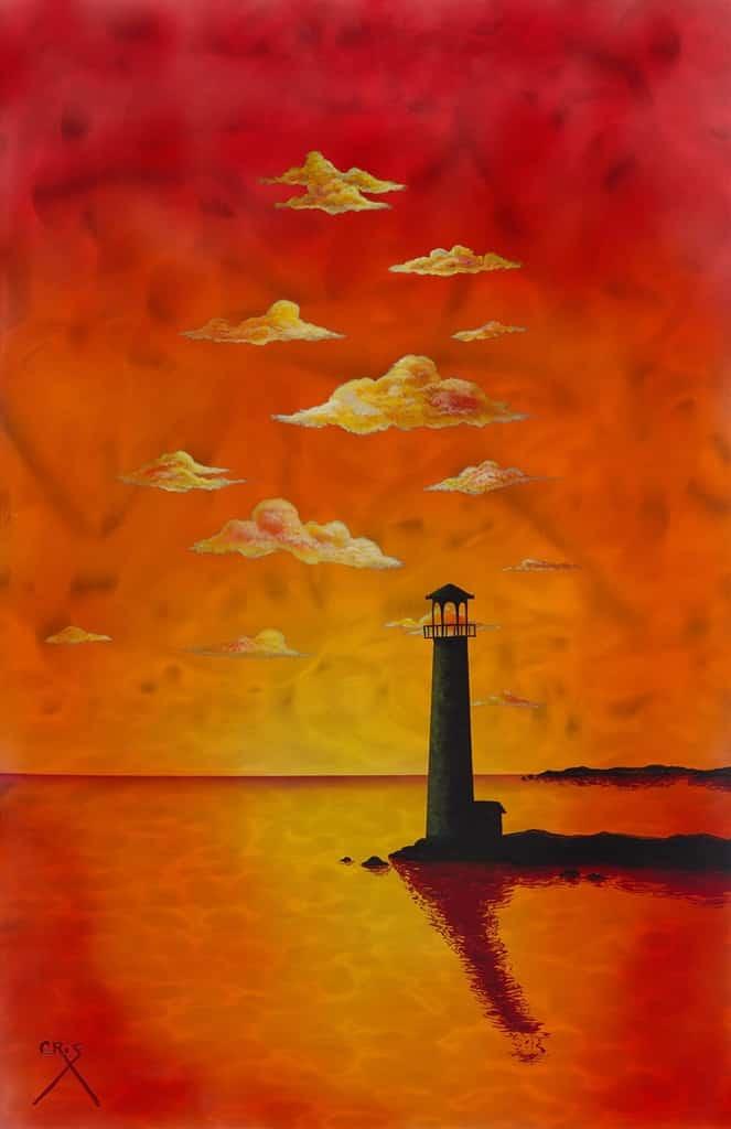 """Sunset Lighthouse,"" Cris X"