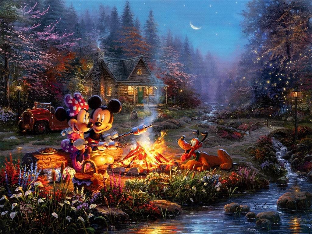 """Mickey & Minnie Sweetheart Campfire,"" Thomas Kinkade Studios"