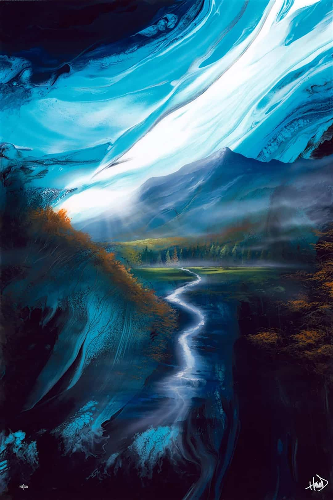 Ashton howard painting of a mountain valley with a river running through it