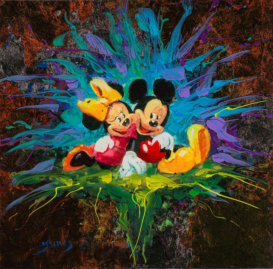 A painting of Mickey Mouse and Minnie Mouse hugging eachother