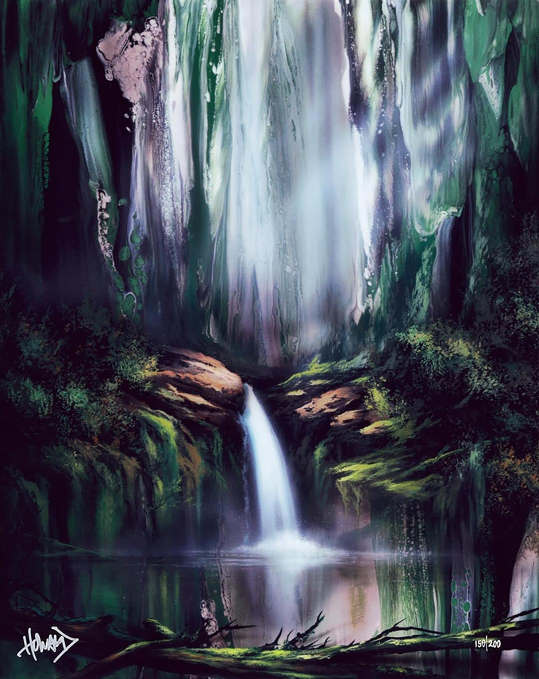 Ashton Howard painting of a waterfall in a forest