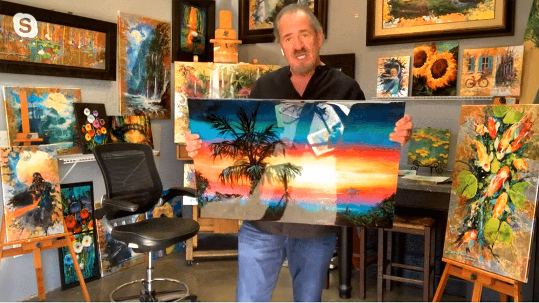 James Coleman shows the camera a large painting